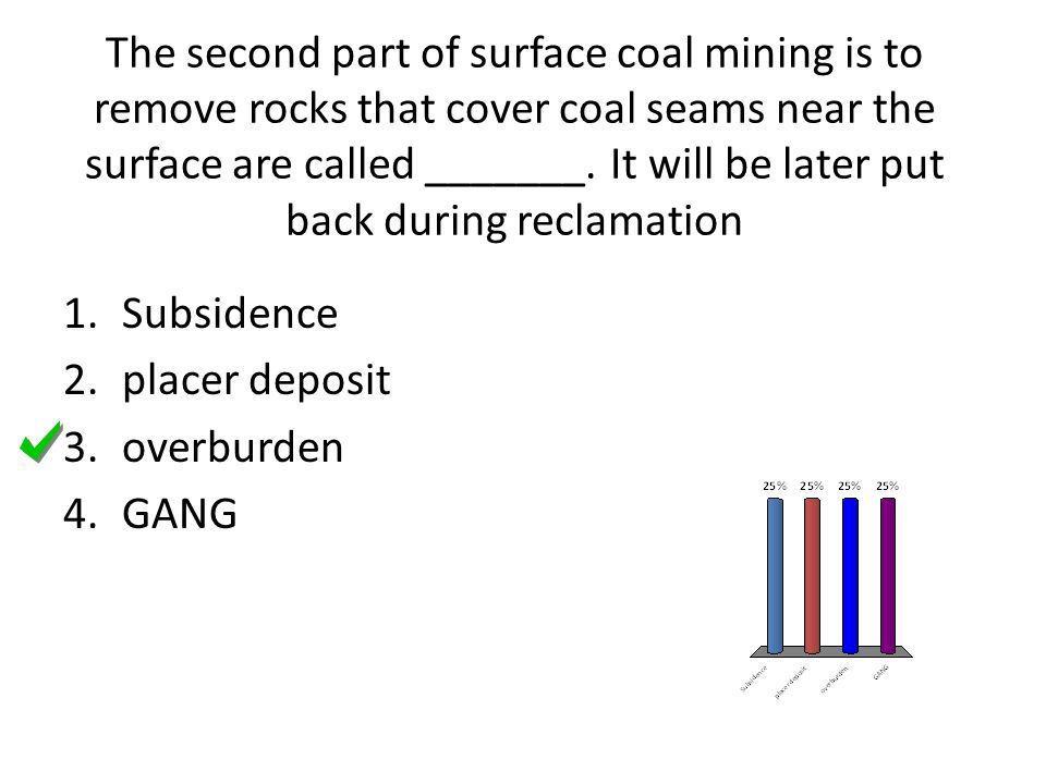 The second part of surface coal mining is to remove rocks that cover coal seams near the surface are called _______. It will be later put back during