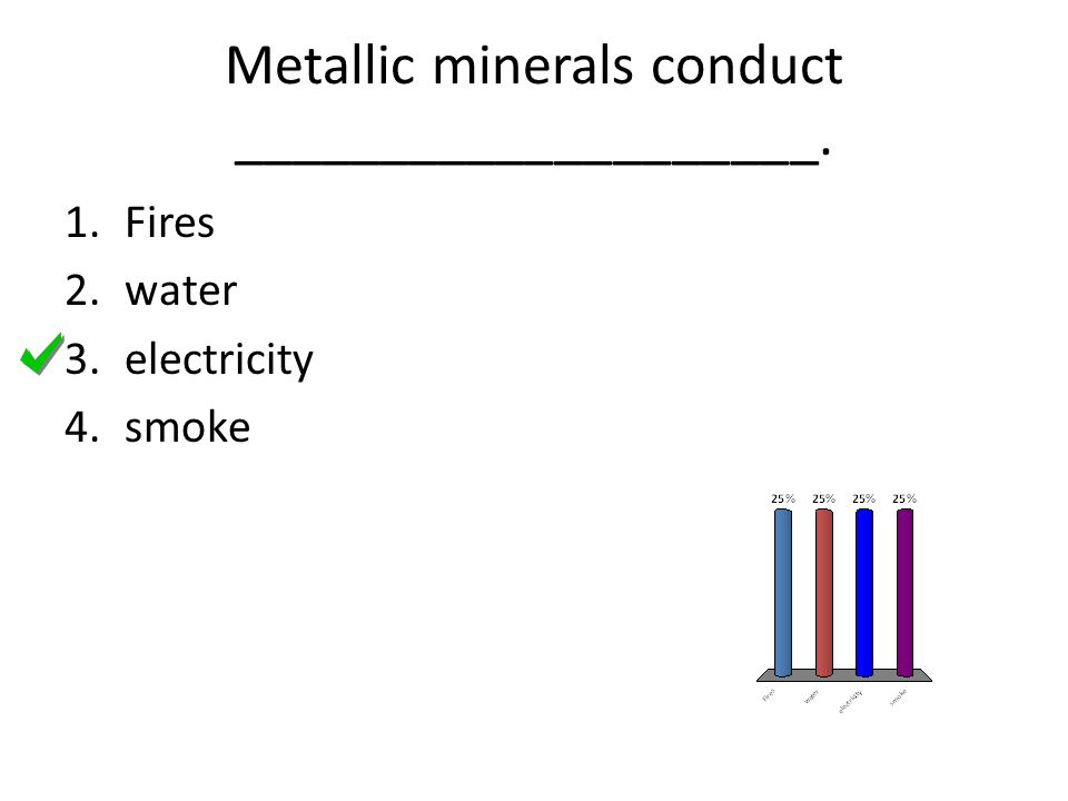 Metallic minerals conduct ____________________. 1.Fires 2.water 3.electricity 4.smoke