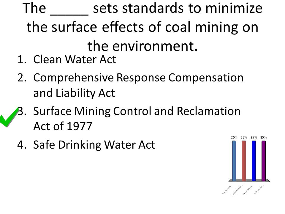 The _____ sets standards to minimize the surface effects of coal mining on the environment. 1.Clean Water Act 2.Comprehensive Response Compensation an