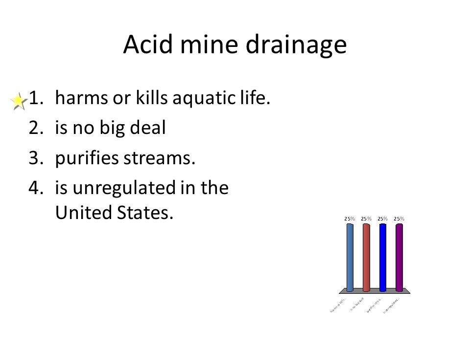 Acid mine drainage 1.harms or kills aquatic life. 2.is no big deal 3.purifies streams. 4.is unregulated in the United States.