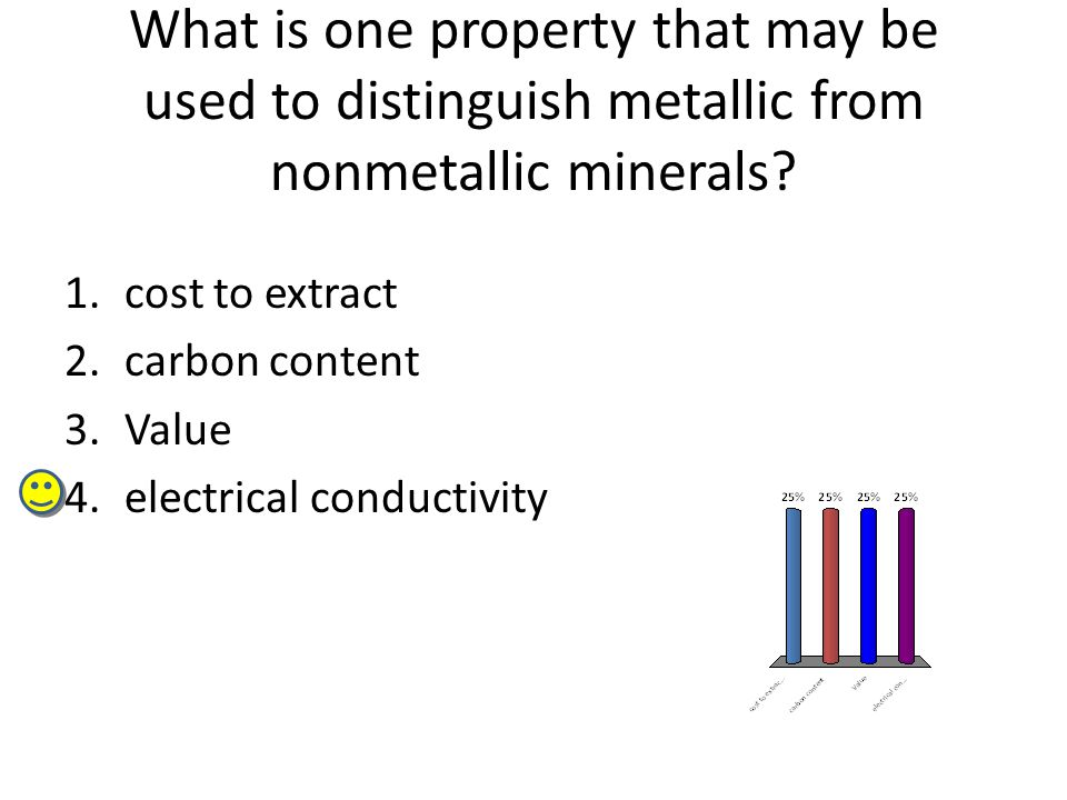 What is one property that may be used to distinguish metallic from nonmetallic minerals? 1.cost to extract 2.carbon content 3.Value 4.electrical condu