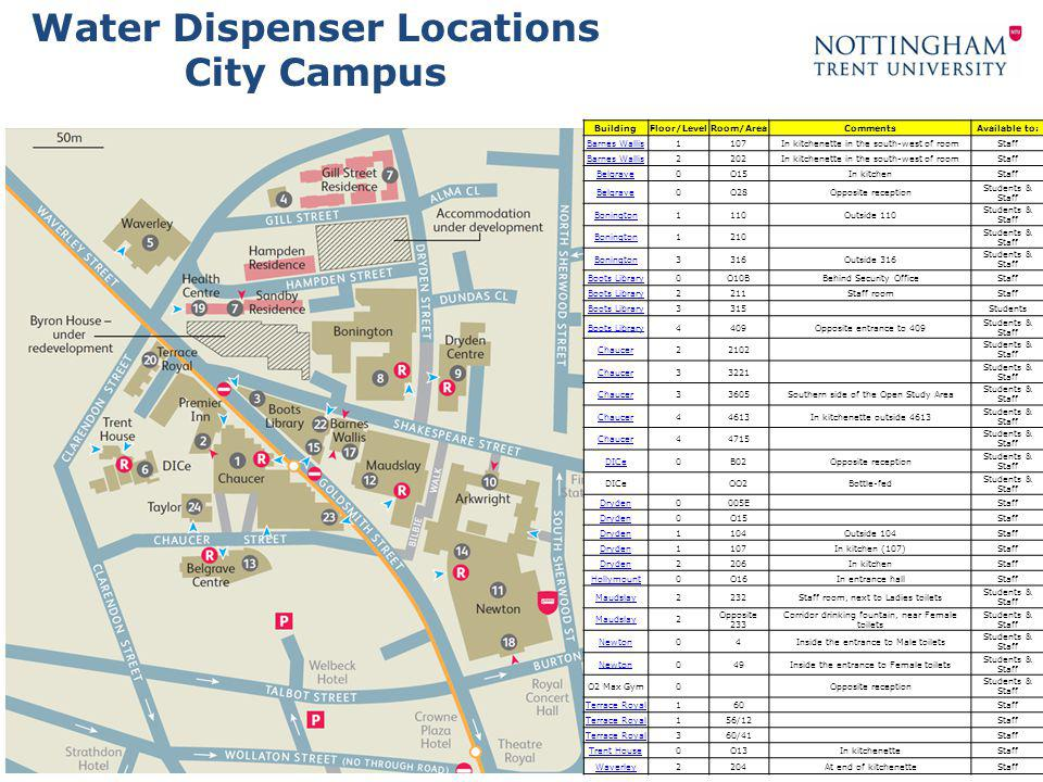 Water Dispenser Locations Barnes Wallis Back to Campus Map Key Water Dispenser Location