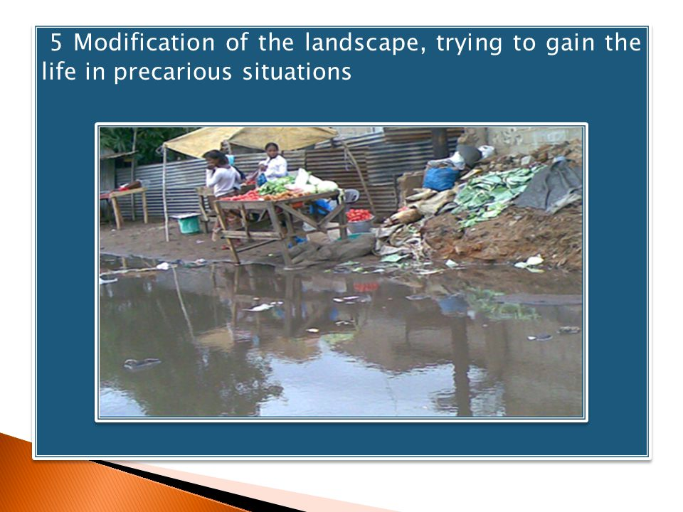 5 Modification of the landscape, trying to gain the life in precarious situations