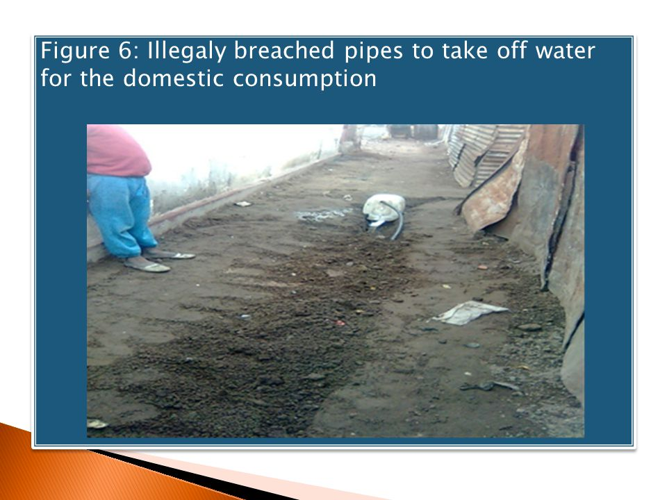 Figure 6: Illegaly breached pipes to take off water for the domestic consumption