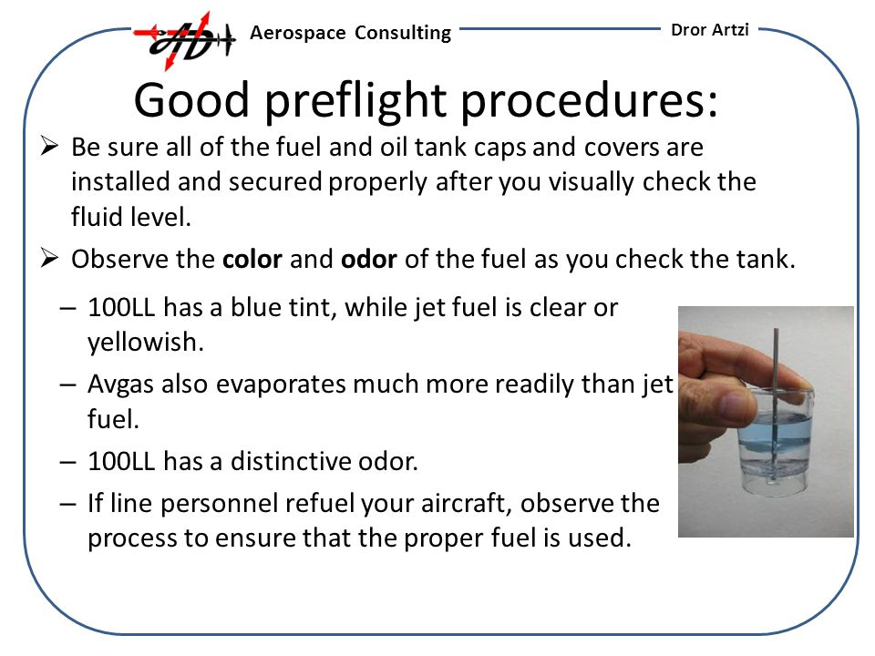 Good preflight procedures: Be sure all of the fuel and oil tank caps and covers are installed and secured properly after you visually check the fluid level.