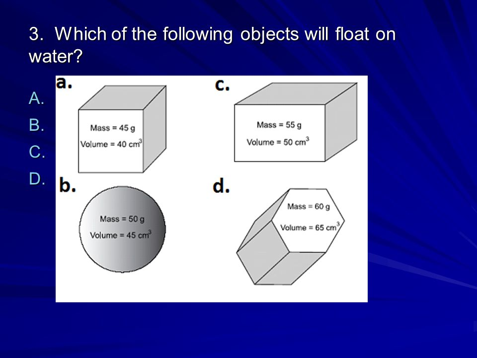 3. Which of the following objects will float on water? A. [Option 1] B. [Option 2] C. [Option 3] D. [Option 4]