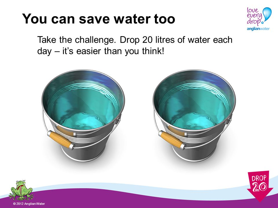 Three easy ways to save water © 2012 Anglian Water