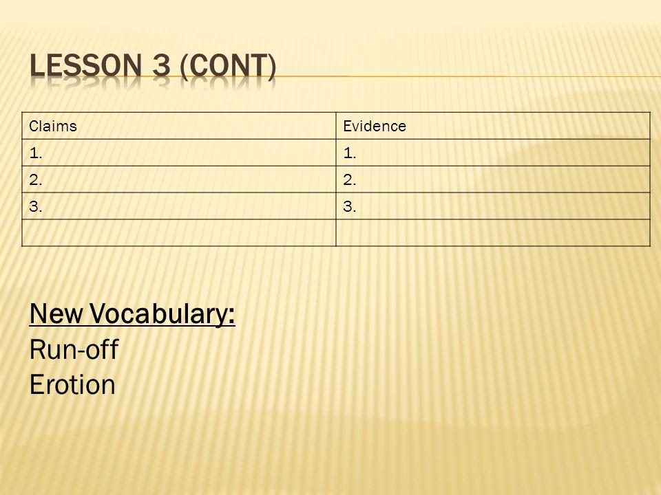 ClaimsEvidence 1. 2. 3. New Vocabulary: Run-off Erotion