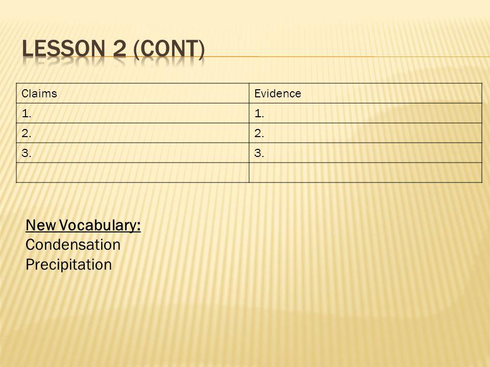 ClaimsEvidence 1. 2. 3. New Vocabulary: Condensation Precipitation