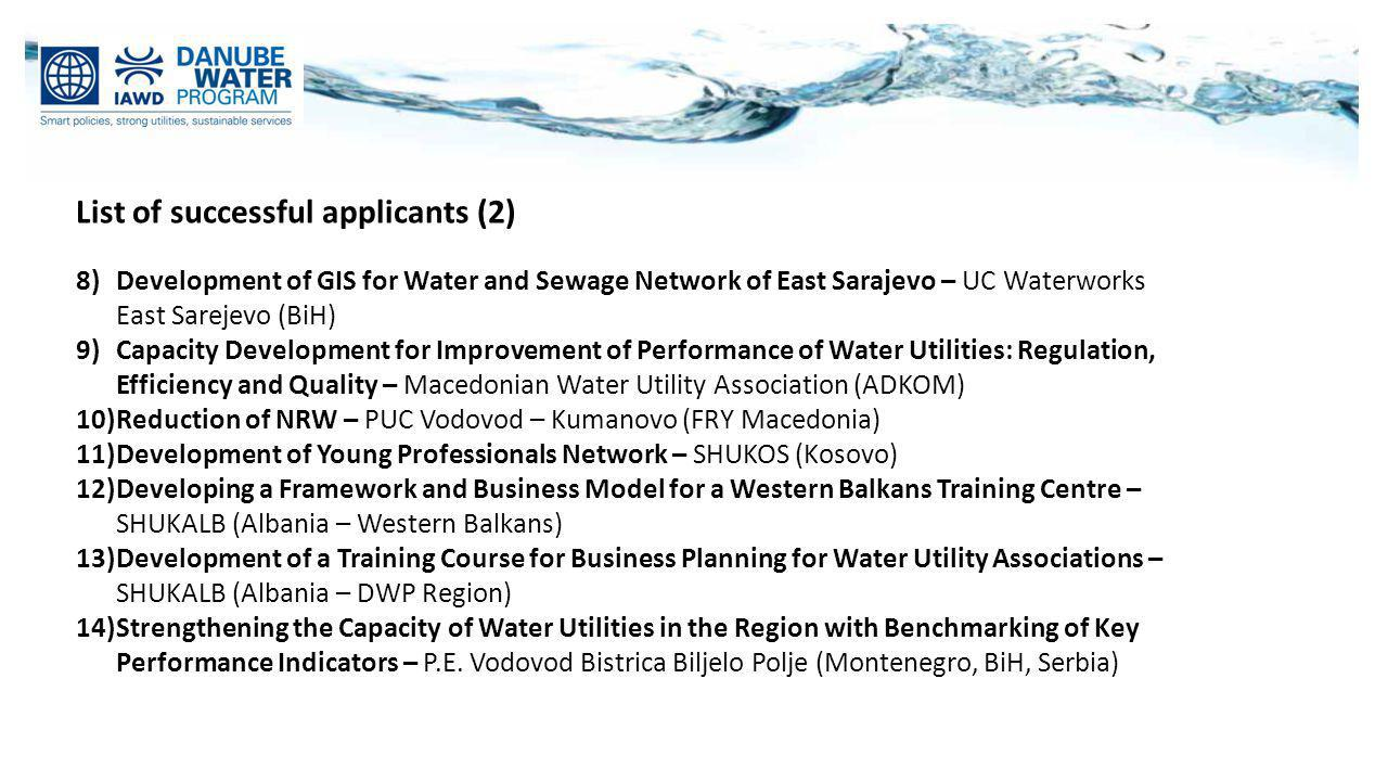 List of successful applicants (2) 8)Development of GIS for Water and Sewage Network of East Sarajevo – UC Waterworks East Sarejevo (BiH) 9)Capacity De