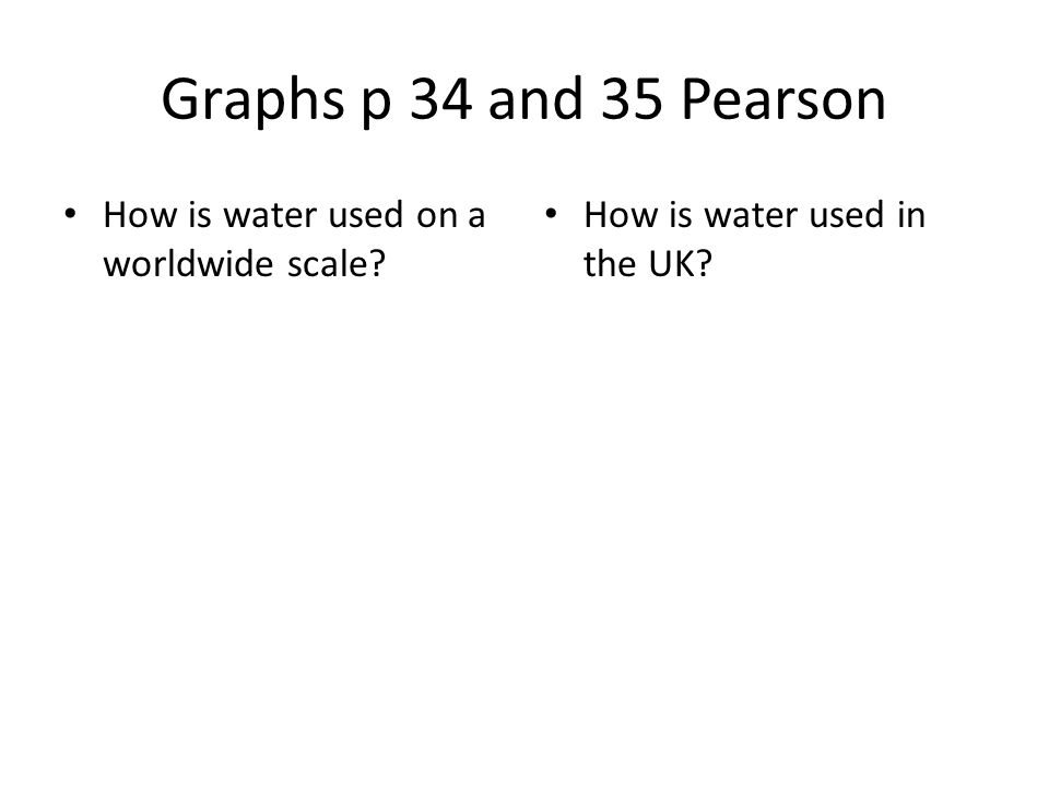 Graphs p 34 and 35 Pearson How is water used on a worldwide scale? How is water used in the UK?