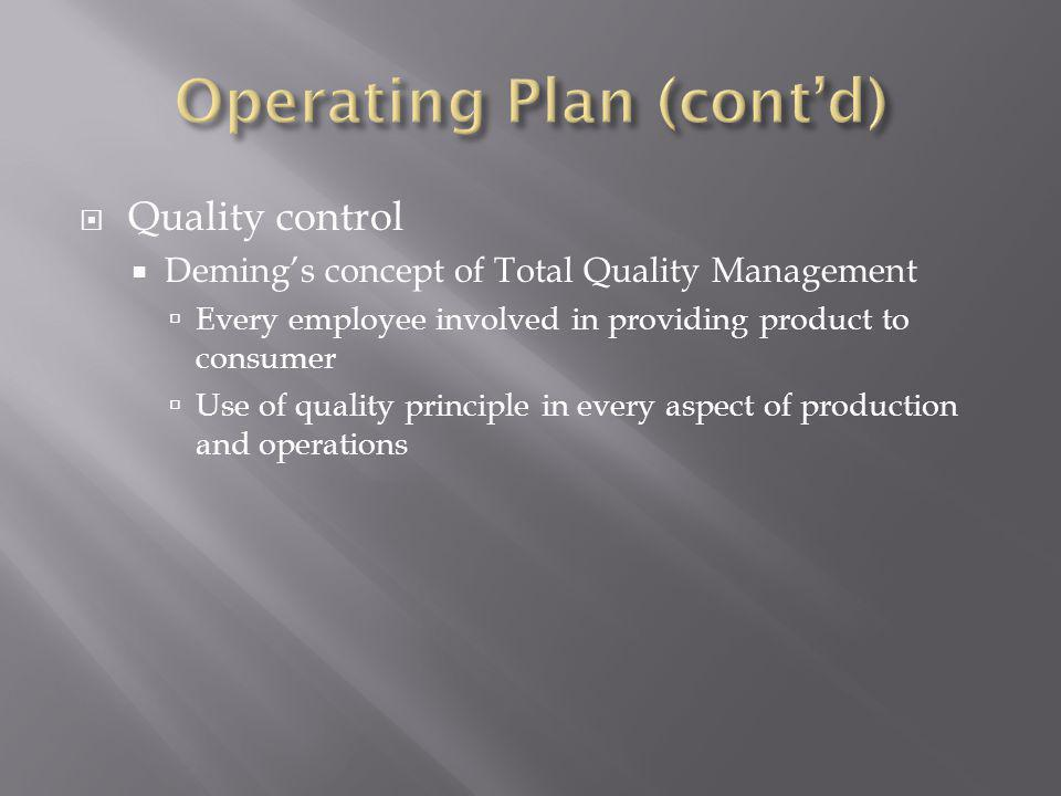 Quality control Demings concept of Total Quality Management Every employee involved in providing product to consumer Use of quality principle in every aspect of production and operations