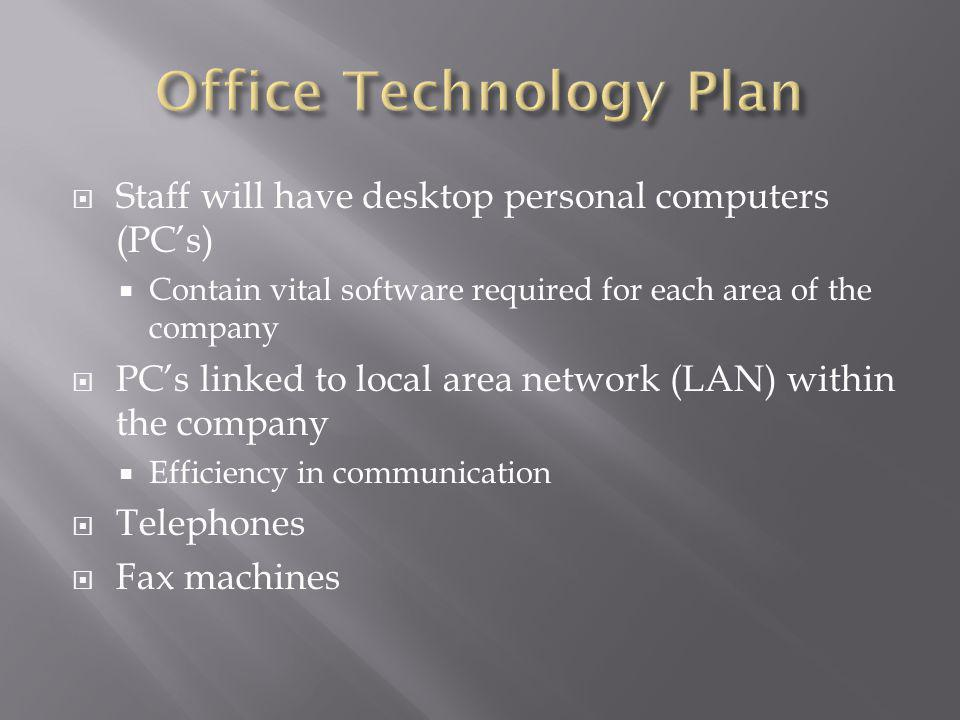 Staff will have desktop personal computers (PCs) Contain vital software required for each area of the company PCs linked to local area network (LAN) within the company Efficiency in communication Telephones Fax machines