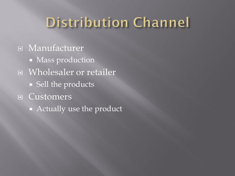 Manufacturer Mass production Wholesaler or retailer Sell the products Customers Actually use the product