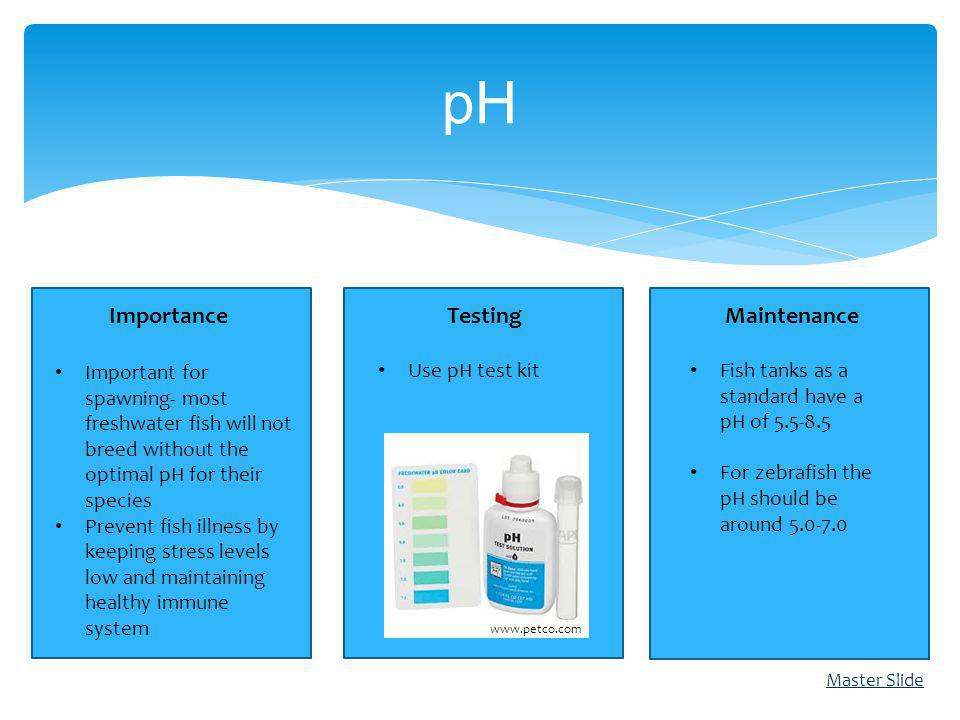 ImportanceTestingMaintenance pH Master Slide Important for spawning- most freshwater fish will not breed without the optimal pH for their species Prev