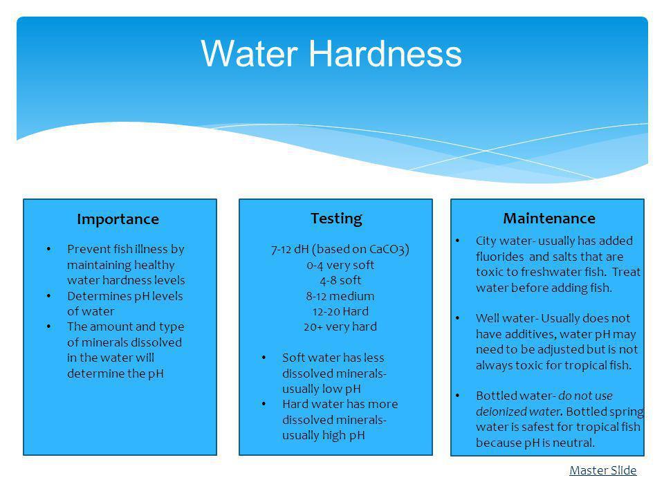 Importance TestingMaintenance Water Hardness 7-12 dH (based on CaCO3) 0-4 very soft 4-8 soft 8-12 medium 12-20 Hard 20+ very hard Soft water has less