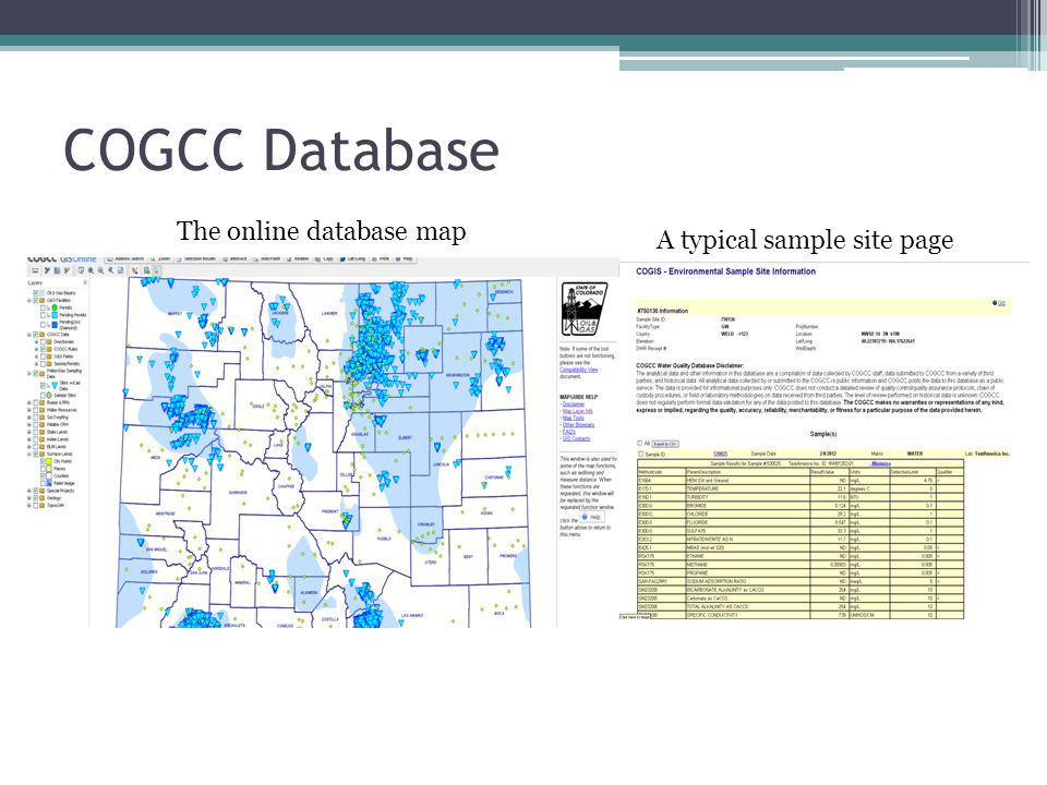 COGCC Database The online database map A typical sample site page