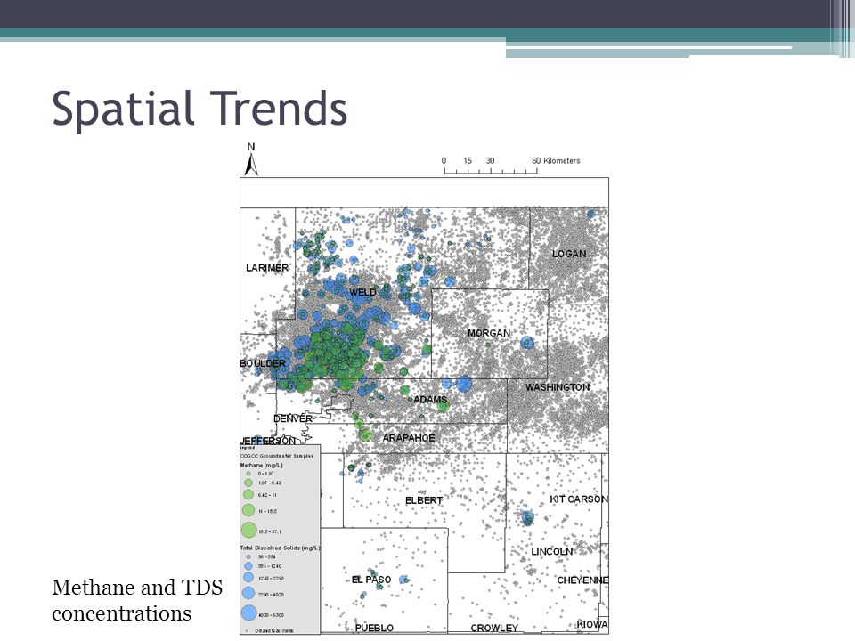 Spatial Trends Methane and TDS concentrations