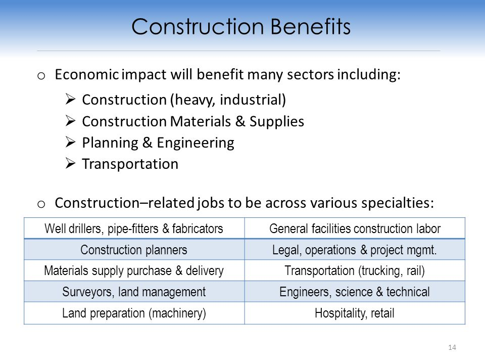 o Economic impact will benefit many sectors including: Construction (heavy, industrial) Construction Materials & Supplies Planning & Engineering Transportation o Construction–related jobs to be across various specialties: Construction Benefits Well drillers, pipe-fitters & fabricatorsGeneral facilities construction labor Construction plannersLegal, operations & project mgmt.