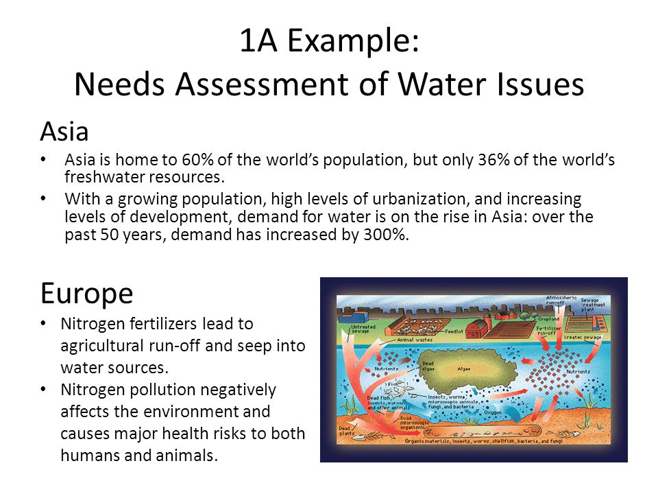 1A Example: Needs Assessment of Water Issues Europe Nitrogen fertilizers lead to agricultural run-off and seep into water sources.