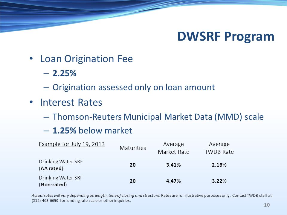 DWSRF Program Loan Origination Fee – 2.25% – Origination assessed only on loan amount Interest Rates – Thomson-Reuters Municipal Market Data (MMD) scale – 1.25% below market Example for July 19, 2013 Maturities Average Market Rate Average TWDB Rate Drinking Water SRF (AA rated) 203.41%2.16% Drinking Water SRF (Non-rated) 204.47%3.22% Actual rates will vary depending on length, time of closing and structure.