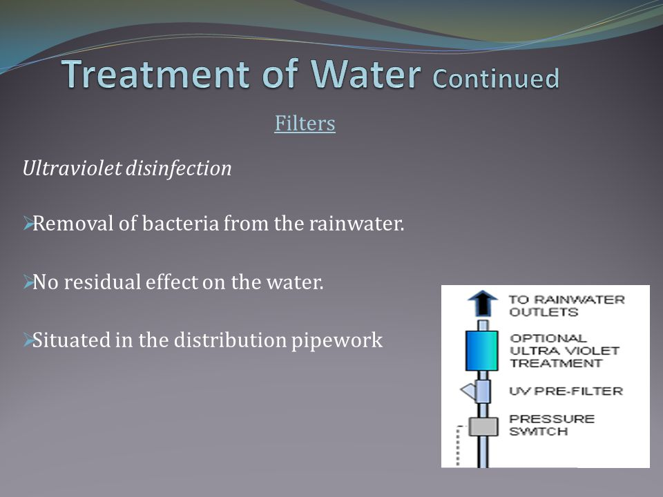 Filters Ultraviolet disinfection Removal of bacteria from the rainwater.