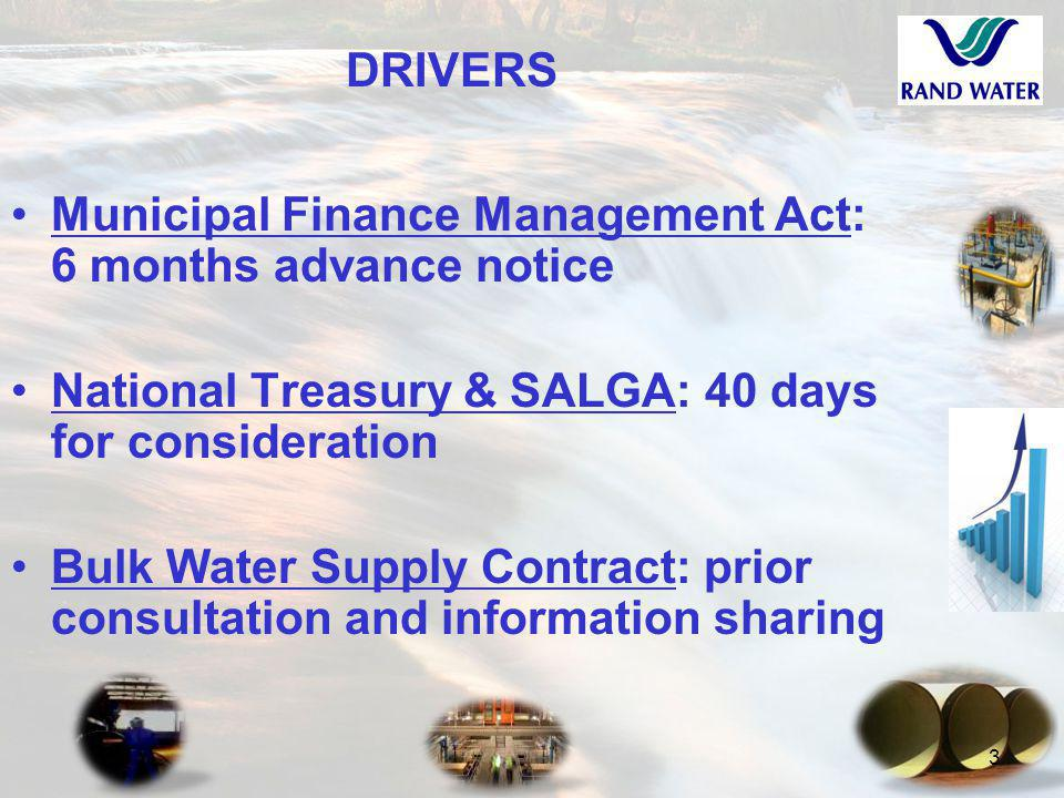 3 DRIVERS Municipal Finance Management Act: 6 months advance notice National Treasury & SALGA: 40 days for consideration Bulk Water Supply Contract: prior consultation and information sharing
