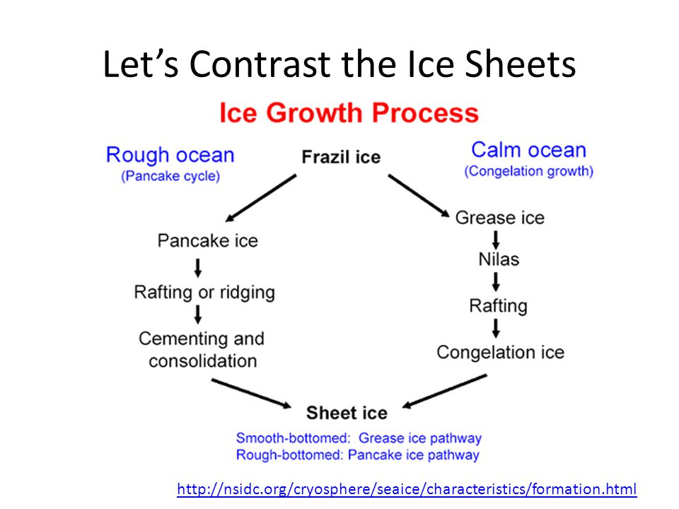 Lets Contrast the Ice Sheets http://nsidc.org/cryosphere/seaice/characteristics/formation.html