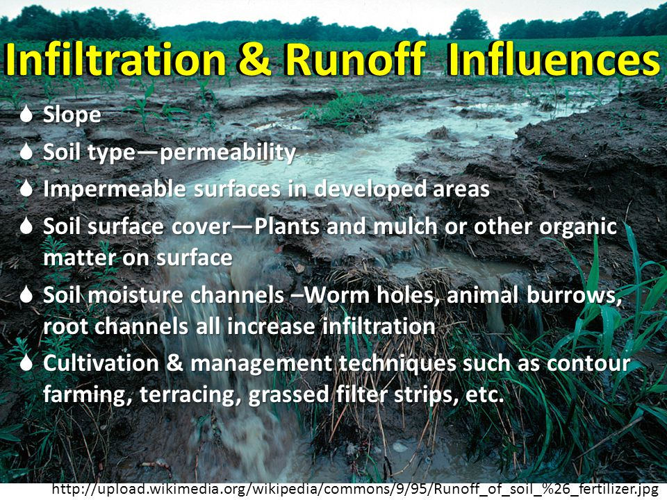 Infiltration & Runoff Influences Slope Slope Soil typepermeability Soil typepermeability Impermeable surfaces in developed areas Impermeable surfaces in developed areas Soil surface coverPlants and mulch or other organic matter on surface Soil surface coverPlants and mulch or other organic matter on surface Soil moisture channels –Worm holes, animal burrows, root channels all increase infiltration Soil moisture channels –Worm holes, animal burrows, root channels all increase infiltration Cultivation & management techniques such as contour farming, terracing, grassed filter strips, etc.