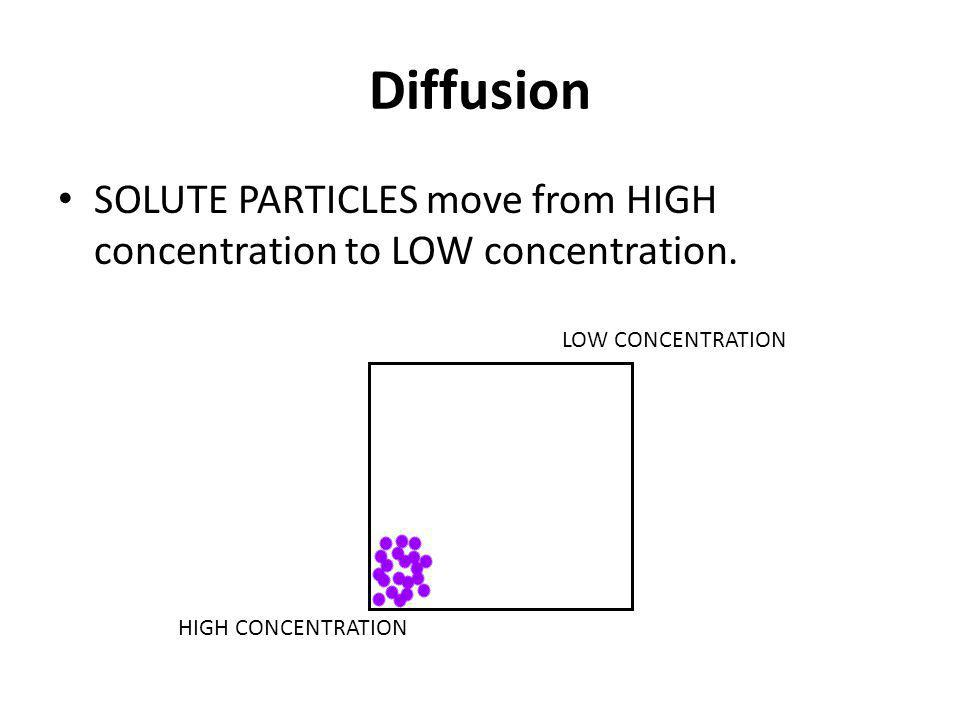 Diffusion SOLUTE PARTICLES move from HIGH concentration to LOW concentration. HIGH CONCENTRATION LOW CONCENTRATION