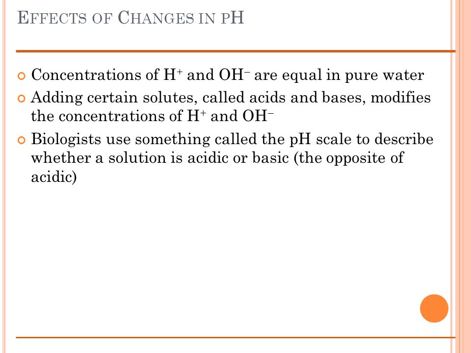 E FFECTS OF C HANGES IN P H Concentrations of H + and OH – are equal in pure water Adding certain solutes, called acids and bases, modifies the concentrations of H + and OH – Biologists use something called the pH scale to describe whether a solution is acidic or basic (the opposite of acidic)