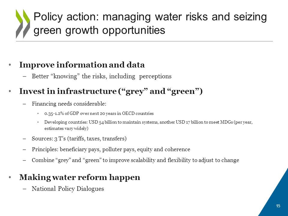 Improve information and data – Better knowing the risks, including perceptions Invest in infrastructure (grey and green) – Financing needs considerable: 0.35-1.2% of GDP over next 20 years in OECD countries Developing countries: USD 54 billion to maintain systems, another USD 17 billion to meet MDGs (per year, estimates vary widely) – Sources: 3 Ts (tariffs, taxes, transfers) – Principles: beneficiary pays, polluter pays, equity and coherence – Combine grey and green to improve scalability and flexibility to adjust to change Making water reform happen – National Policy Dialogues 15 Policy action: managing water risks and seizing green growth opportunities