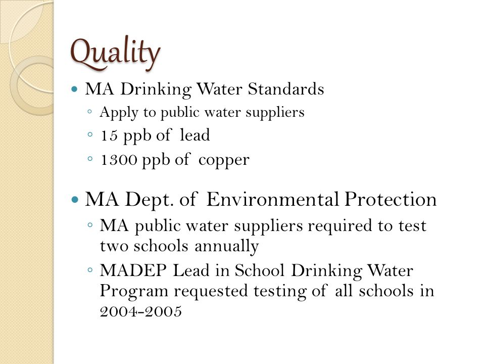 Infrastructure: School Plumbing 101 http://www.epa.gov/safewater/schools/pdfs/lead/toolkit_leadschools_guide_3ts_leadschools.pdf