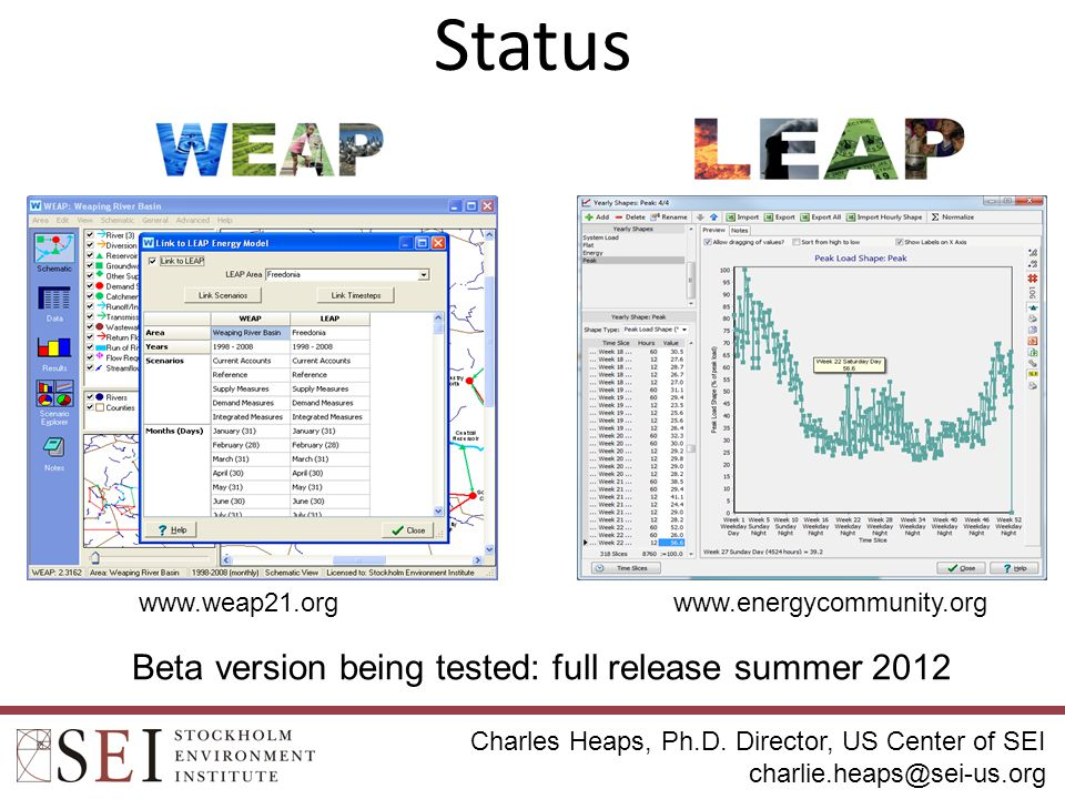 Status 9 Beta version being tested: full release summer 2012 www.weap21.org www.energycommunity.org Charles Heaps, Ph.D.