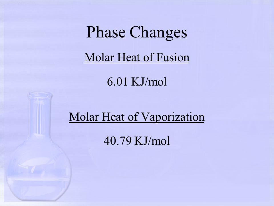 Phase Changes Molar Heat of Fusion 6.01 KJ/mol Molar Heat of Vaporization 40.79 KJ/mol