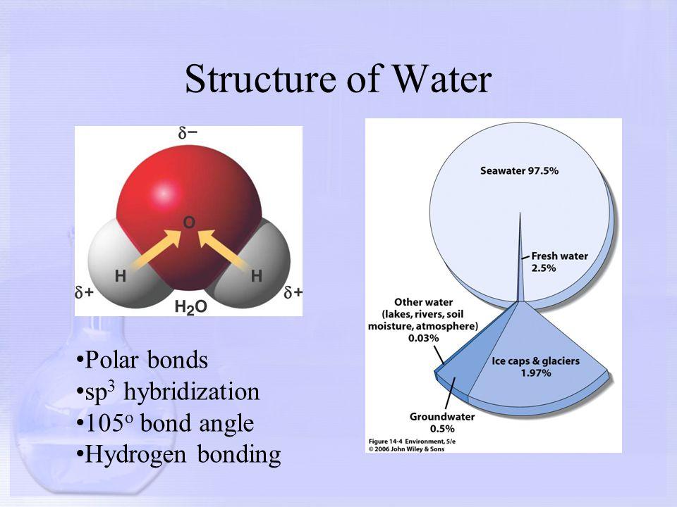 Structure of Water Polar bonds sp 3 hybridization 105 o bond angle Hydrogen bonding