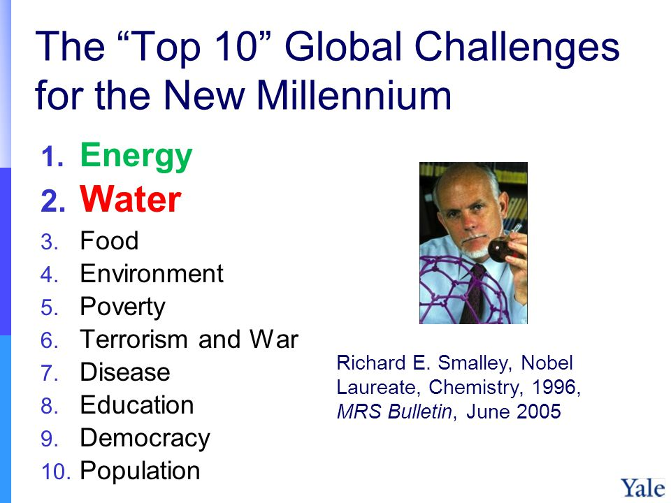 1. Energy 2. Water 3. Food 4. Environment 5. Poverty 6.