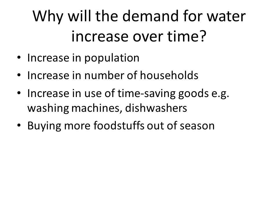 Why will the demand for water increase over time.