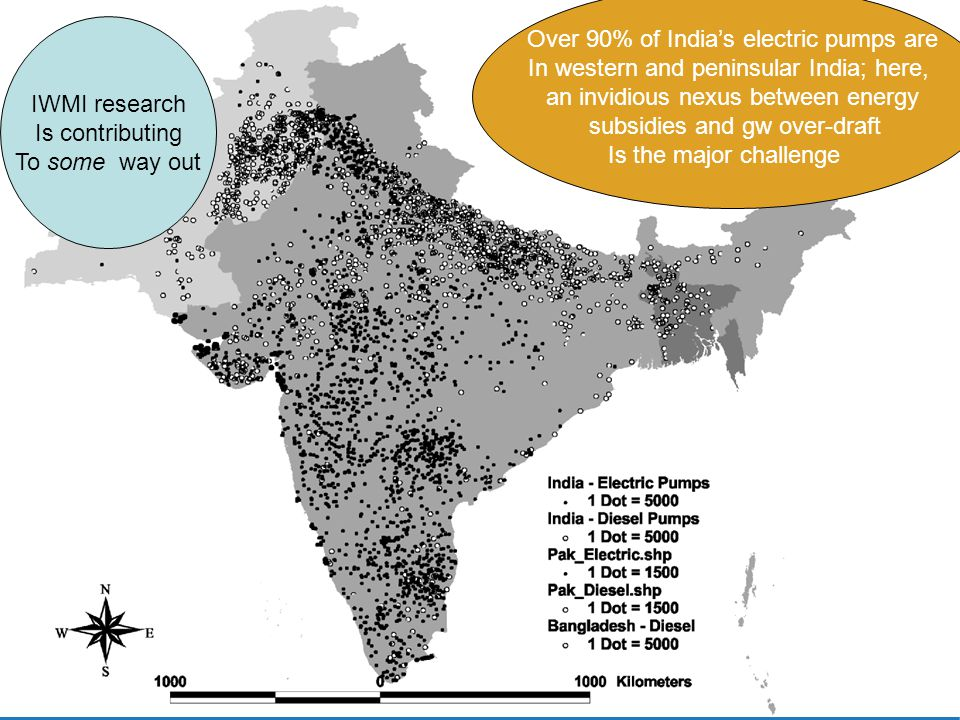 Over 90% of Indias electric pumps are In western and peninsular India; here, an invidious nexus between energy subsidies and gw over-draft Is the major challenge IWMI research Is contributing To some way out