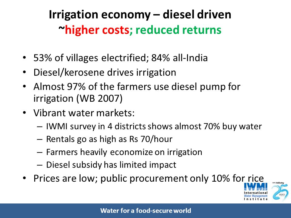 Water for a food-secure world Irrigation economy – diesel driven ~higher costs; reduced returns 53% of villages electrified; 84% all-India Diesel/kerosene drives irrigation Almost 97% of the farmers use diesel pump for irrigation (WB 2007) Vibrant water markets: – IWMI survey in 4 districts shows almost 70% buy water – Rentals go as high as Rs 70/hour – Farmers heavily economize on irrigation – Diesel subsidy has limited impact Prices are low; public procurement only 10% for rice