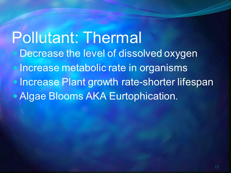 12 Pollutant: Thermal Decrease the level of dissolved oxygen Increase metabolic rate in organisms Increase Plant growth rate-shorter lifespan Algae Blooms AKA Eurtophication.