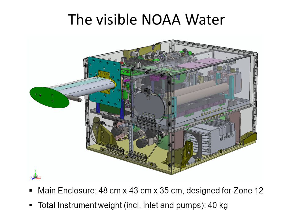 The visible NOAA Water Main Enclosure: 48 cm x 43 cm x 35 cm, designed for Zone 12 Total Instrument weight (incl.