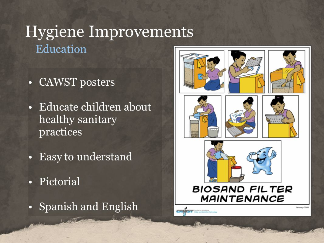 Hygiene Improvements Education CAWST posters Educate children about healthy sanitary practices Easy to understand Pictorial Spanish and English