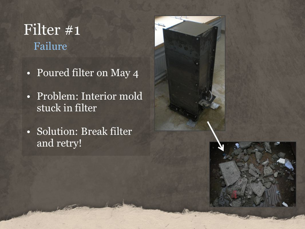 Filter #1 Failure Poured filter on May 4 Problem: Interior mold stuck in filter Solution: Break filter and retry!