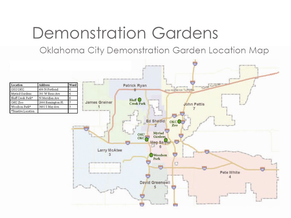 Demonstration Gardens Oklahoma City Demonstration Garden Location Map