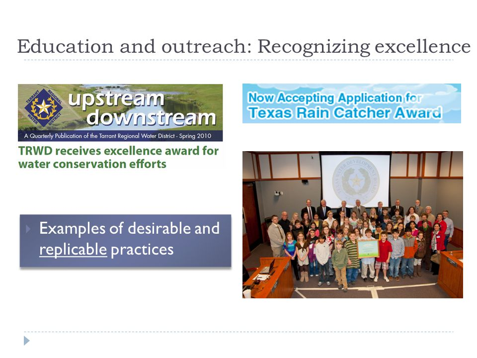 Education and outreach: Recognizing excellence