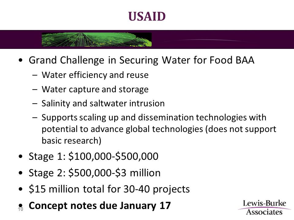 USAID Grand Challenge in Securing Water for Food BAA –Water efficiency and reuse –Water capture and storage –Salinity and saltwater intrusion –Supports scaling up and dissemination technologies with potential to advance global technologies (does not support basic research) Stage 1: $100,000-$500,000 Stage 2: $500,000-$3 million $15 million total for 30-40 projects Concept notes due January 17 10