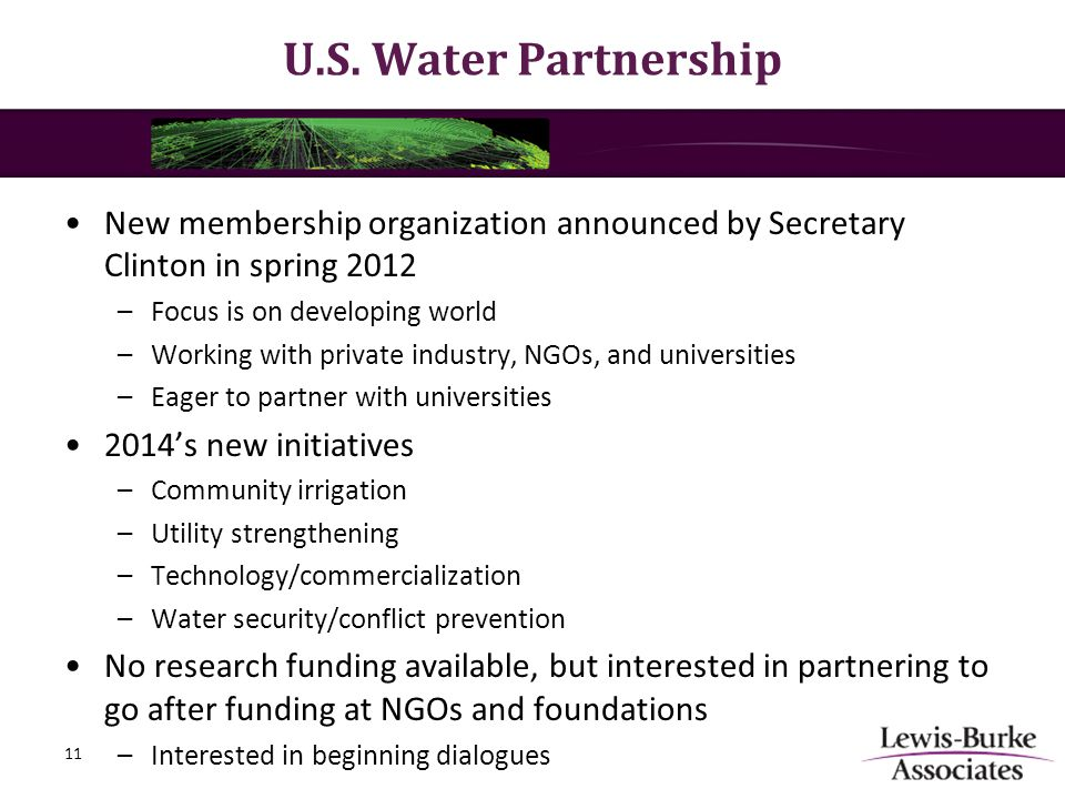 U.S. Water Partnership New membership organization announced by Secretary Clinton in spring 2012 –Focus is on developing world –Working with private i