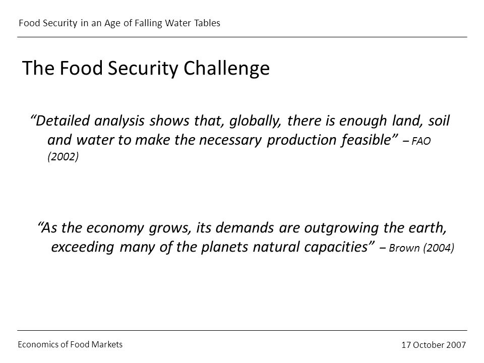 Economics of Food Markets 17 October 2007 Food Security in an Age of Falling Water Tables The Food Security Challenge Detailed analysis shows that, globally, there is enough land, soil and water to make the necessary production feasible – FAO (2002) As the economy grows, its demands are outgrowing the earth, exceeding many of the planets natural capacities – Brown (2004)