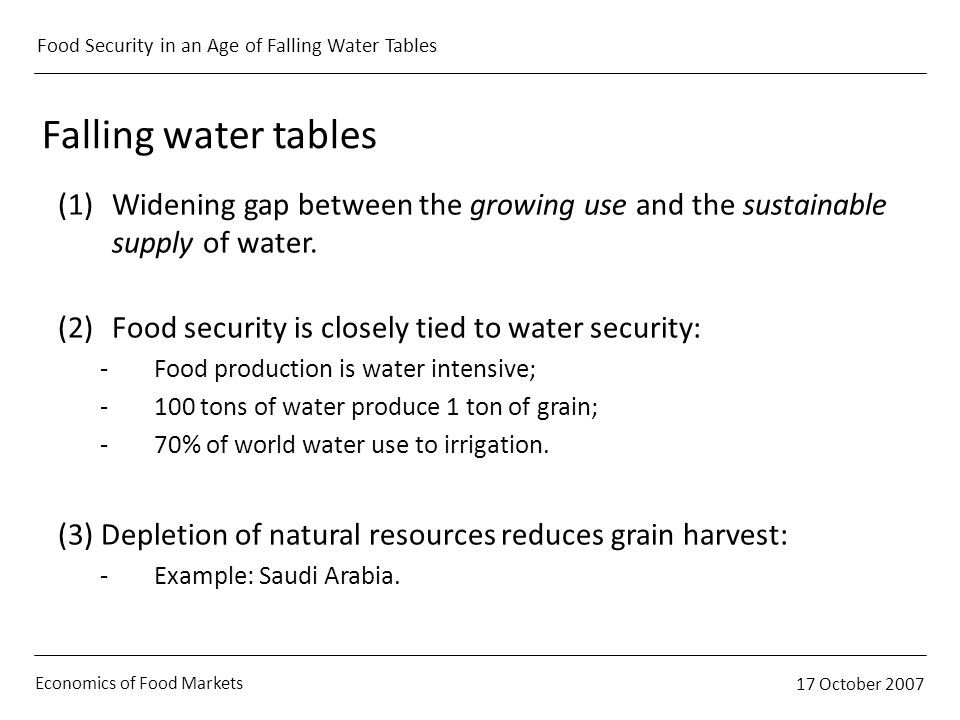 Economics of Food Markets 17 October 2007 Food Security in an Age of Falling Water Tables Falling water tables (1)Widening gap between the growing use and the sustainable supply of water.
